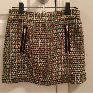 J. Crew Dolce Tweed Multi Mini Skirt 0